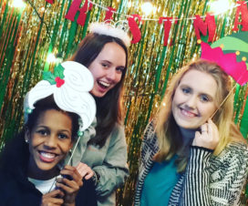 Lyn Holli, right, and friends at Spirit Girls Christmas party